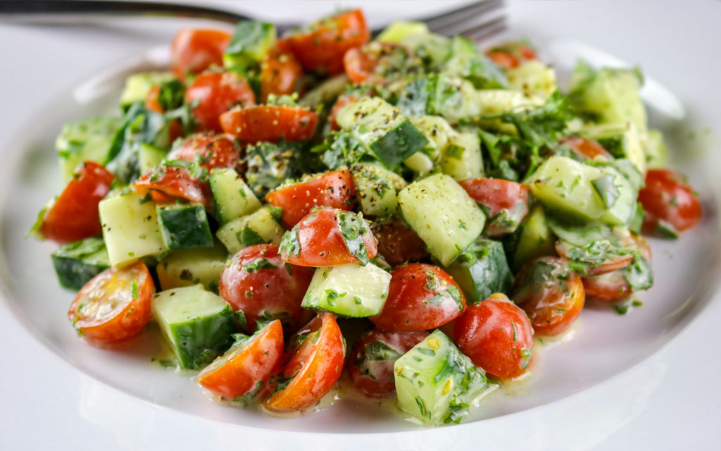 Cucumber, Tomato & Herb Salad with a Creamy Vinaigrette Dressing