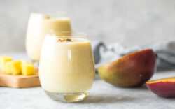 Mango Lassi, yogurt or smoothie. Healthy probiotic  cold summer